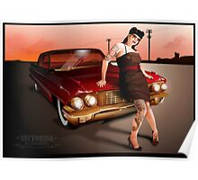 Pinup with a hot ride Poster