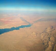 View from Airplane window Lake Mead & Mountains by kodakcameragirl