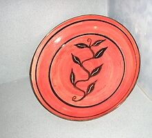 brush worked ceramic platter by Noel McCusker