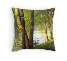 Looking Through Trees along The Seine Throw Pillow