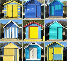 Brighton Bathing Boxes in Blue by Christopher Biggs