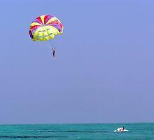 Para-sailing over the green water of the Arabian Sea in the Lakshadweep Islands by ashishagarwal74