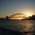 Setting sun over the Sydney Harbour Bridge by lettie1957