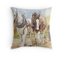 Shire Horses  Throw Pillow