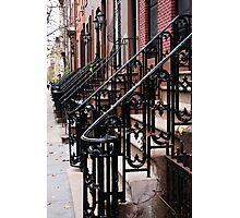 Steps into the Distance, Iron Stair Rails, Manhattan Photographic Print