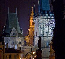 Night View of West End of Charles Bridge (Prague) by ChrisHarvey67