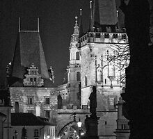 Night View of West End of Charles Bridge (Prague) B&W by ChrisHarvey67