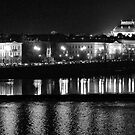 "Nightscape from Charles Bridge # 1 (Prague) ""INK OUTLINES"" by ChrisHarvey67"