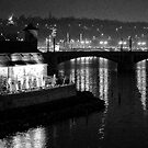 "Nightscape from Charles Bridge # 3 (Prague) ""INK OUTLINES"" by ChrisHarvey67"