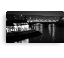 """Nightscape from Charles Bridge # 3 (Prague) """"INK OUTLINES"""" Canvas Print"""