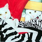Chloe the cat in duo by Jo Hawkins