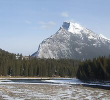 Mt Rundle, Bow River and The Banff Centre. Banff,Alberta,Canada,April 2007. by Phil Mitchell