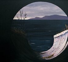 View of Pic Island through the Drainage tunnel under the Railroad tracks by loralea