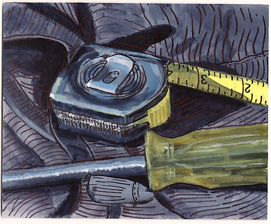 Tape Measure and Screwdriver by bernzweig