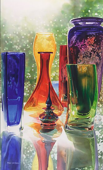 """Sundance"" Art Glass Watercolor Painting by Paul Jackson"