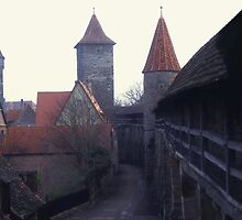 City Walls In The Early Morning. Rothenburg. Germany. by Peter Stephenson
