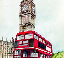 Big Ben and London Bus by morgansartworld