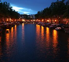 Amsterdam canal at night by Mishimoto