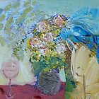 Woman with Flowers, Glass by bogoslowsky
