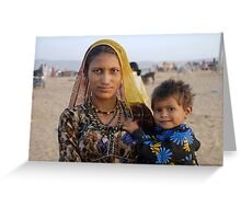 Gypsy woman with Child at Camel Fair Greeting Card