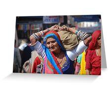 Old Woman at Camel Fair Pushkar Greeting Card