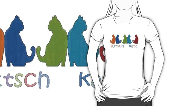Kitsch Cats Silhouette Cat Collage Pattern Isolated by taiche