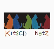 Kitsch Cats Silhouette Cat Collage Pattern on Black Kids Clothes