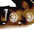 Trucks - Rear Wheels & Axels of a Dump Truck on White Background by Buckwhite
