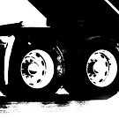 Trucks - Detail of Rear Axels & Tires in High Contrast B&W by Buckwhite