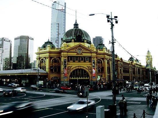 Photograph of Flinders Street Station Melbourne by Elizarose
