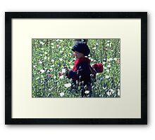 Mien mother and baby harvesting opium poppy Framed Print