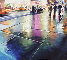 """Neon Rain"" New York Watercolor by Paul Jackson"
