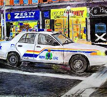 A crayon drawing of an RCMP Ford Crown Victoria Police Interceptor on Rideau Street in downtown Ottawa... by SteveBrandon