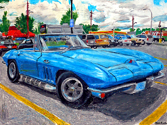 An oil pastel drawing of a mid-1960's Corvette Stingray convertible. by SteveBrandon