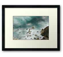 Byron Bay Midnight Ocean Rocks © Vicki Ferrari Framed Print