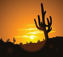 Cactus Sunset by William Fehr