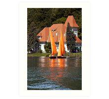 Worther See - Orange Sails Art Print