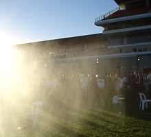 Sprinkler goes off early, Flemington race course by HandyAndy