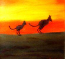 Roos @Sunset, Australia.  by C J Lewis