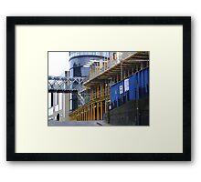 straight & curved - grey, blue and yellow, Calton Hill, Edinburgh Framed Print