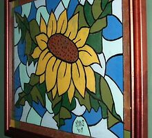 "Faux Stained Glass Sunflower- 16"" x 20""-2007 by linmarie"