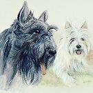 Scottie and a Westie by morgansartworld