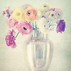 Ranunculas in Silver Vase by shanarae
