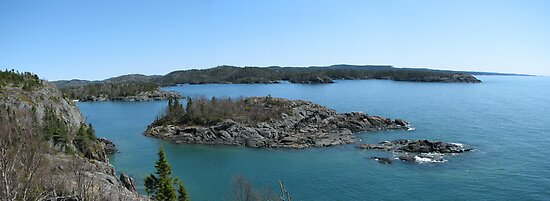 Campbells point into Lake Superior - Pukaskwa National Park by loralea