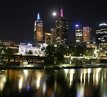 Melbourne Australia: Melbourne By Night Northern Eastern Side Of City by Claude Raiola