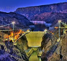Hoover Damn and the US-93 Bypass Bridge from the front by cammyjams