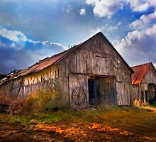 """Old Barns With Storm Rolling In"" by Melinda Stewart Page"