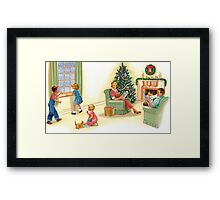 dick and jane family xmas Framed Print
