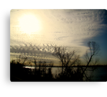 Sun Setting On The Mississippi River Canvas Print