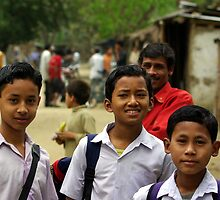 Mising tribe schoolboys, Assam, India by John Mitchell